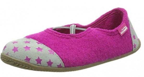 Hausschuhe Living Kitzbühel pink Sterne Wolle piccolina Waldkindergarten