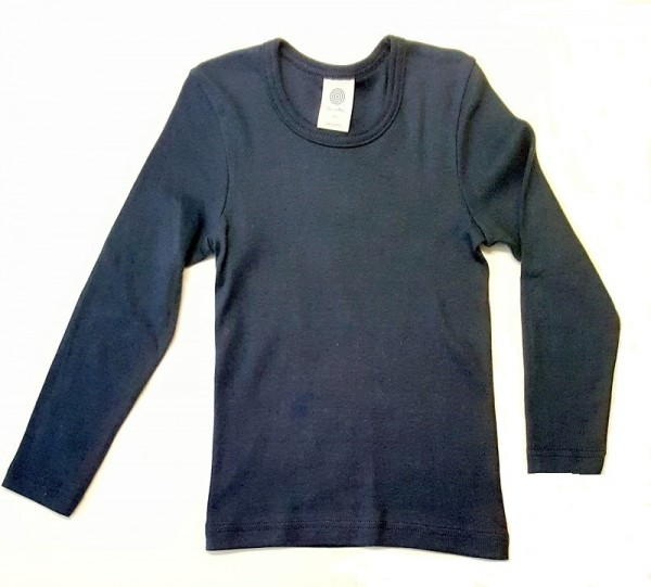 Unterhemd langarm blau uni sanetta baumwolle piccolina waldkindergarten